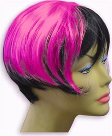 Colored Wigs :: Two Tone Hot Pink & Black