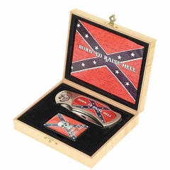 Confederate Flag Born To Raise Hell Knife and Lighter Set