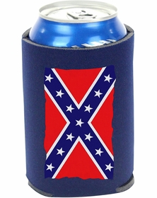 Confederate Flag Foam Insulated Can Holder (Navy Blue)