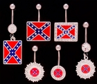 Navel Body Jewelry - Confederate Flag 3 Piece Assorted Pack