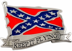 "Confederate ""Keep It Flying"" Belt Buckle With FREE Belt"