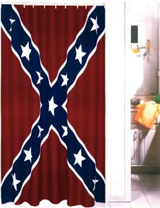 Confederate Rebel Battle Flag Shower Curtain  70 x 72 Inches . Red And Blue Shower Curtain. Home Design Ideas