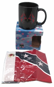 "Confederate Rebel Confederate Flag Mug With 12"" x 18"" Rebel Flag"