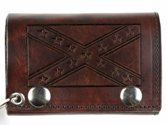 Confederate Rebel Flag Genuine Brown Leather Tri-fold Chain Wallet