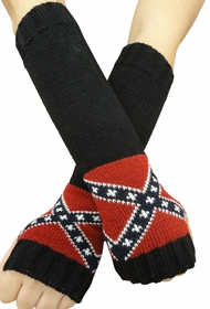 Confederate Rebel Flag Knit Pair Of Arm Warmers