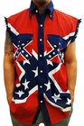 Confederate Rebel Flag Pattern Sleeveless Button-Up Shirt