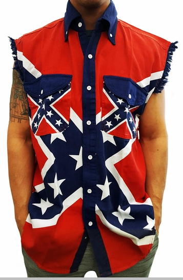 Confederate Rebel Flag Pattern Sleeveless Button-Up Shirt<!-- Click to Enlarge-->