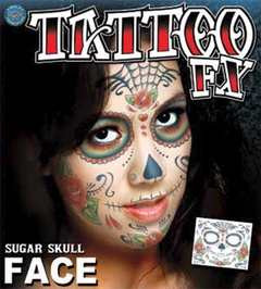 Temporary Face Tattoo - Day of the Dead Sugar Skull (unisex)