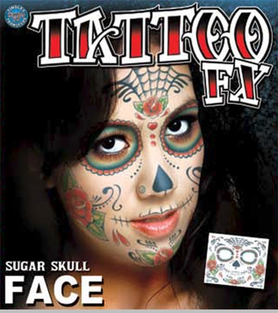 Temporary Face Tattoo - Day of the Dead Sugar Skull (unisex)<!-- Click to Enlarge-->