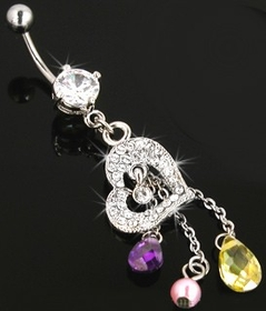 Navel Body Jewelry - Dazzling Heart Dangle Navel Jewelry
