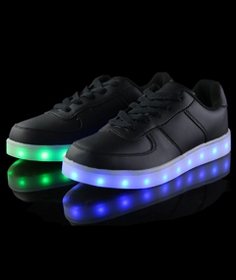 LED Sneakers - Deluxe Rechargeable LED Light-Up Sneakers - Black