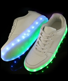 LED Sneakers - Deluxe Rechargeable LED Light-Up Sneakers - White