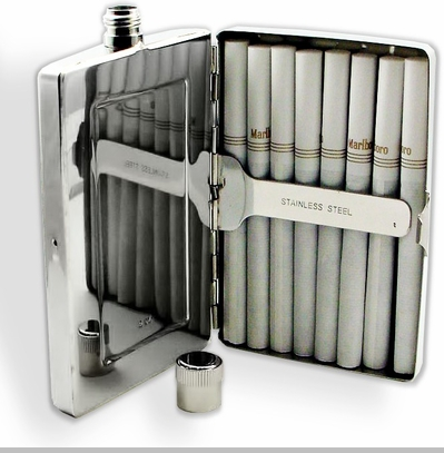 Deluxe Stainless Steel All in One Cigarette Case & Flask Combo (For King Size & 100's)<!-- Click to Enlarge-->