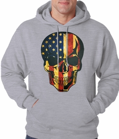 Distressed American Flag Skull Adult Hoodie