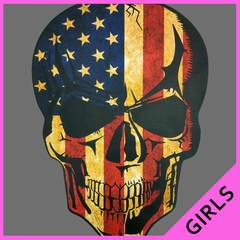 Distressed American Flag Skull Ladies T-shirt