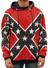 Distressed Confederate Rebel Flag All Over Adult Hooded Sweatshirt