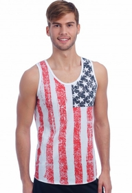 Distressed Vintage American Flag Mens Tank Top