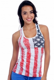 Distressed Vintage Racer-Back American Flag Girls Tank Top