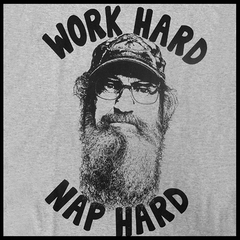 "Duck Dynasty ""Work Hard Nap Hard"" Men's T-Shirt (Grey)"
