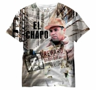 El Chapo All Over Sublimation Print Mens T-shirt