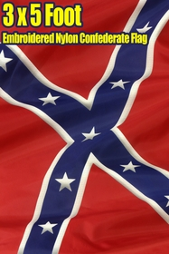 Embroidered Nylon Confederate Flag - Confederate Rebel 3 x 5 FT