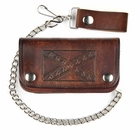 Extra Large Antique Brown Leather Confederate Flag Biker Wallet With 12 Inch Chain
