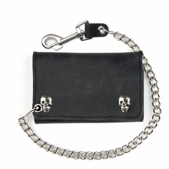 Extra Large Black Leather Tri-Fold Wallet With Skull Snaps and 12 Inch Chain