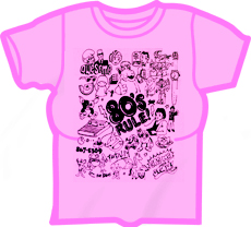 FanClub 80's Rule! Girls T-Shirt (Hot Pink)