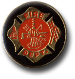 Fire Dept Black Round Logo Lapel Pin