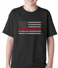 Firefighter Thin Red Line American Flag - Support Firefighter Department Horizontal Kids T-shirt