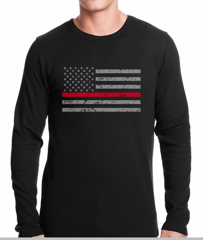 Firefighter Thin Red Line American Flag - Support Firefighter Department Horizontal Thermal Shirt<!-- Click to Enlarge-->