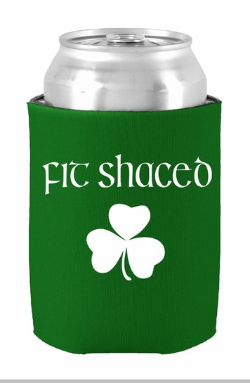 Fit Shaced (Shit Faced) St. Patricks Day Shamrock Drinking Koozie (Kelly Green)<!-- Click to Enlarge-->