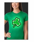 Flashing Light Up Shamrock Ladies T-Shirt (Kelly Green)