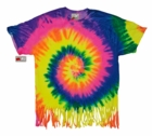 Fluorescent Mutli Rainbow Tie Dye Fringe Ladies T-shirt
