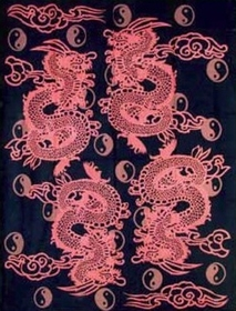 Four Dragons and Yin Yangs Oriental Tapestry