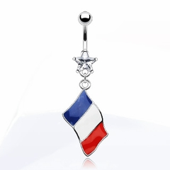 "Navel Body Jewelry - France ""French Flag"" Belly Button Ring"