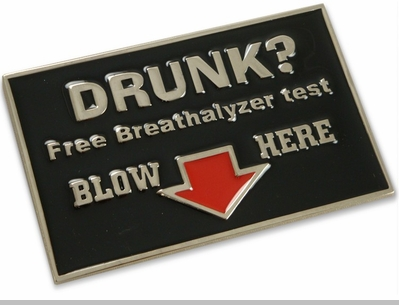 Free Breathalyzer Tests Belt Buckle With FREE Leather Belt<!-- Click to Enlarge-->