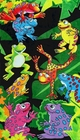 Tropical Colorful Tree Frogs Velour Beach & Bath Towel