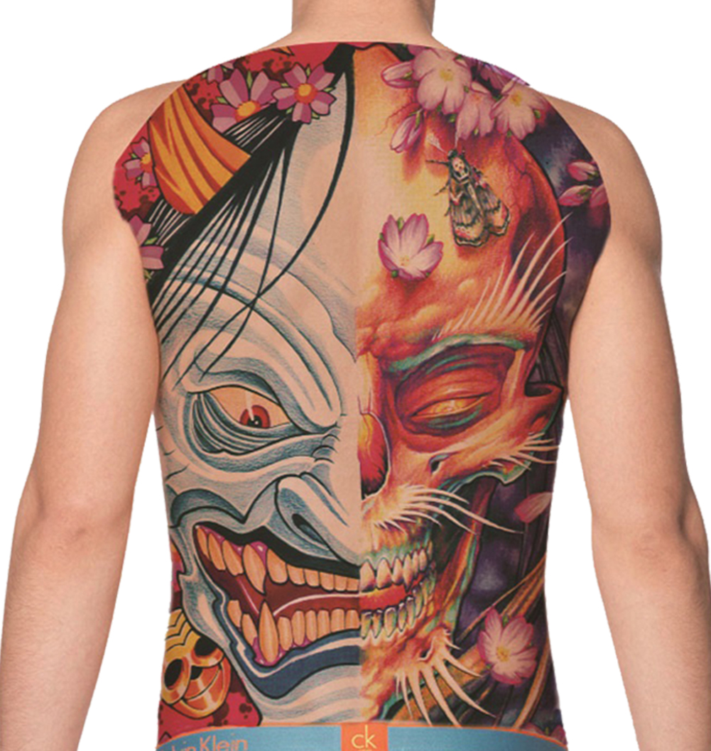 temporary tattoo full back skull and goblin