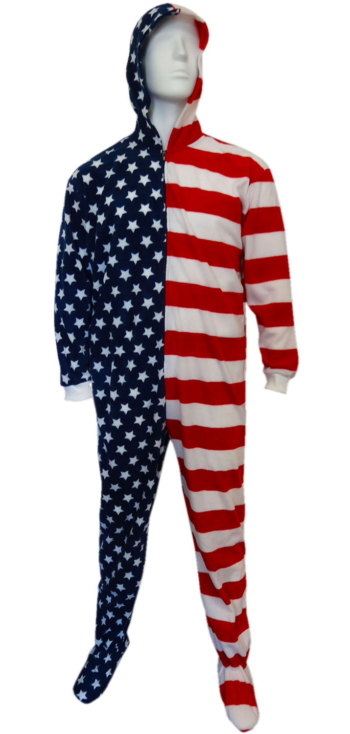 Fun Footies American Flag Unisex Adult Feety Pajamas