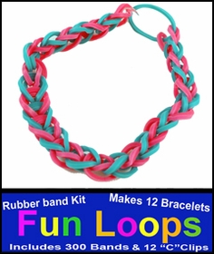 Fun Loops Rainbow Band Bracelets - Turquoise & Pink