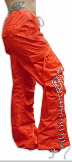 Girls Hipster Lace Up UFO Pants (Orange / Grey)<!-- Click to Enlarge-->