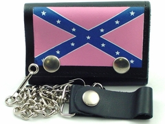 Girls Pink Rebel Flag Genuine Leather Chain Wallet
