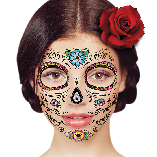 temporary face tattoo floral day of the dead