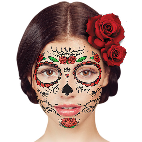temporary face tattoo day of the dead red rose