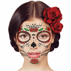 Temporary Face Tattoo - Day of the Dead Red Rose