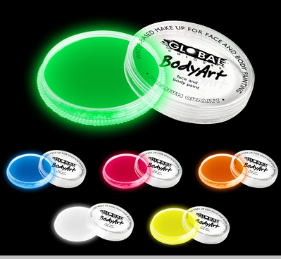 Global Colours Professional Neon UV Reactive Body Paint (3 Inches Round, 32 Grams)<!-- Click to Enlarge-->