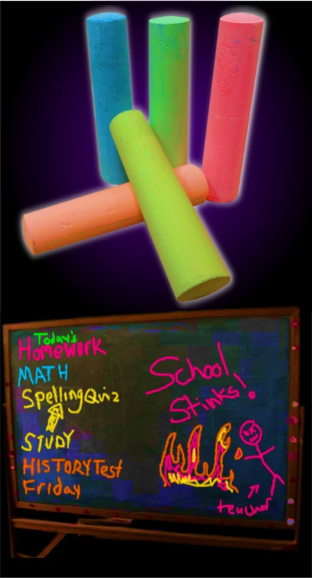glow black light reactive neon chalk set of 5