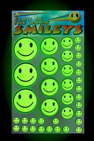 Glow in the dark Smiley Face Stickers ( Pack of 37 Smileys)