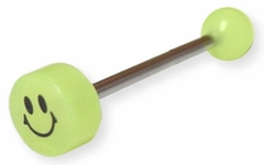 Glow In The Dark Smily Face Tongue Barbell